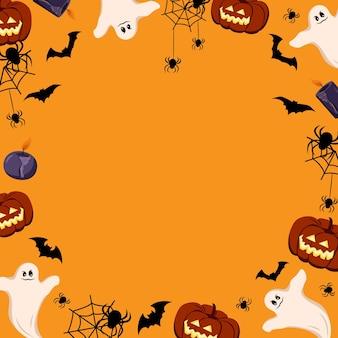 Citrouilles fantômes crânes chauves-souris et araignées cadre halloween