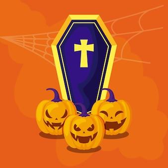 Citrouilles d'halloween avec cercueil traditionnel