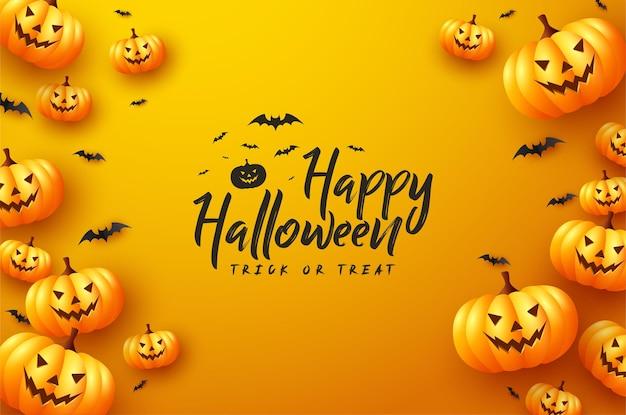 Citrouilles d'halloween avec des chauves-souris sur fond jaune