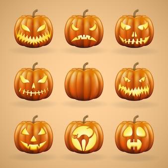 Citrouilles d'halloween avec différents visages.