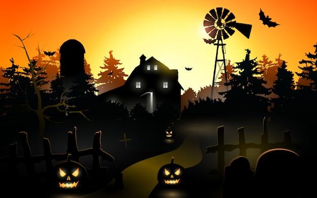 Citrouilles d'halloween. fond d'halloween à la forêt de nuit avec la lune