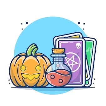 Citrouilles d'halloween et illustration vectorielle de potion