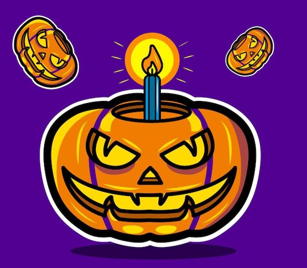 Citrouilles d'halloween avec lumière illustrée en vecteur