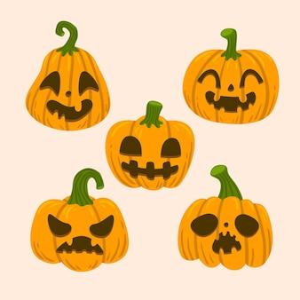 Citrouilles d'halloween de style dessiné à la main