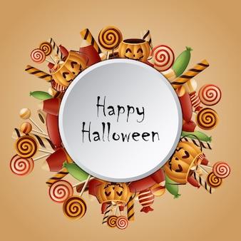 Citrouilles joyeux halloween cercle carte