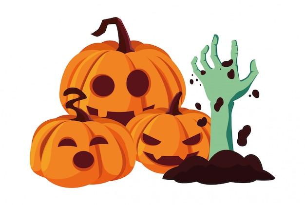 Citrouilles à main zombie joyeux halloween célébration
