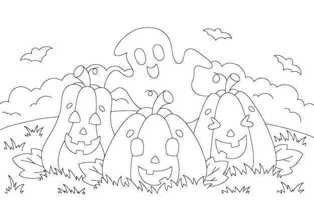 Citrouilles mignonnes et un fantôme page de livre de coloriage pour les enfants thème d'halloween