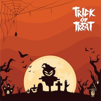Citrouilles spooky au cimetière halloween fond