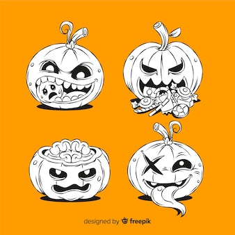 Citrouilles spooky dessinés à la main sur fond orange