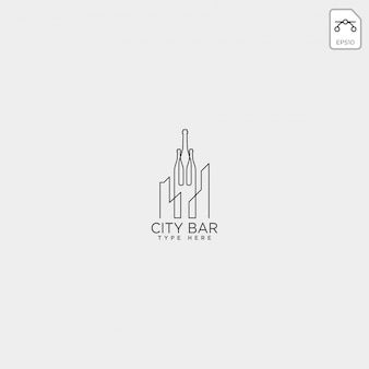 City bar, illustration vectorielle de club de boisson club créatif logo