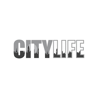 City life cityscape vue signe symbole vecteur