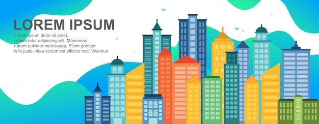 City life concept modèle de bannière horizontale de landmark landmark