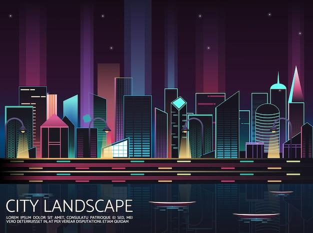 City skyline nuit