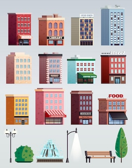 City street elements buildings set