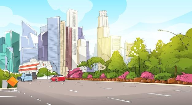 City street gratte-ciel vue sketch cityscape