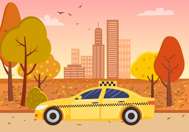 City street, taxi and fall cityscape, gratte-ciel