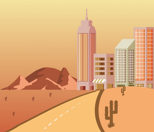 Cityscape buildings avec scene desert