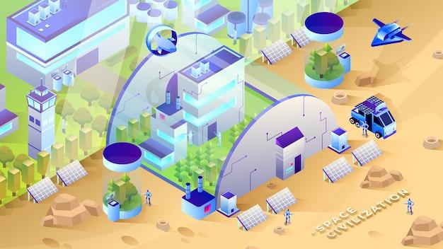 Civilisation de l'espace - illustration isométrique