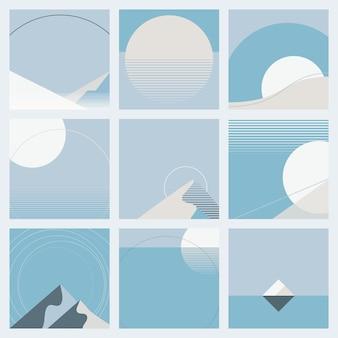 Clair de lune pendant la collection de style géométrique de vecteur de fond d'hiver