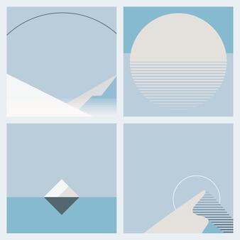 Clair de lune pendant l'ensemble de style géométrique de fond d'hiver