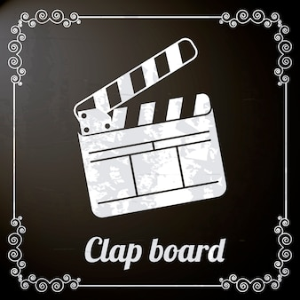 Clap board sur illustration vectorielle fond noir