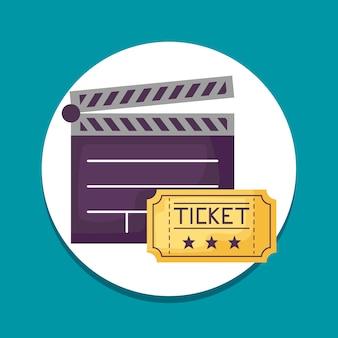 Clap de cinéma avec des icônes de billets