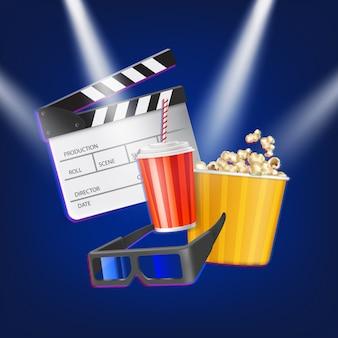Clap de cinéma, pop-corn, lunettes 3d et boisson