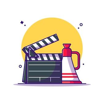 Clap de film et illustration de dessin animé de haut-parleur. concept d'icône de cinéma blanc isolé. style de bande dessinée plat