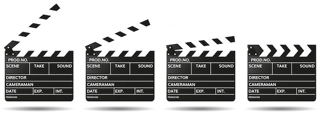 Clap noir avec des champs vides pour le nom du film ouvert et fermé. tournage de films