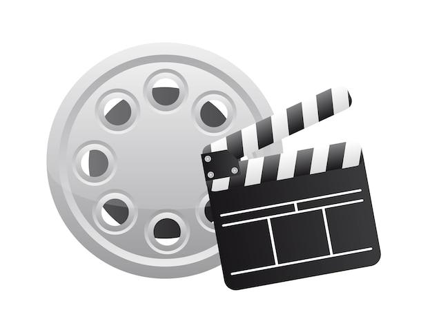Clapper board avec une bande de film sur le vecteur de fond blanc