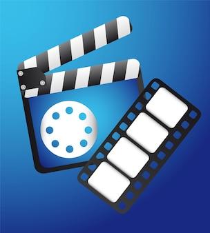 Clapper board avec bande de film sur vecteur fond bleu