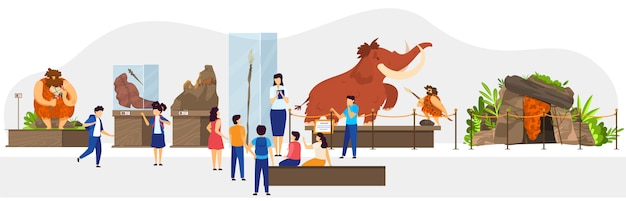 Classe d'école au musée d'histoire naturelle, exposition de l'âge de pierre des peuples primitifs, illustration