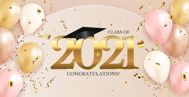 Classe de graduation de 2021 avec chapeau de graduation et confettis