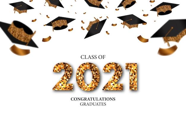 Classe de graduation du concept de bannière de luxe avec texte de paillettes et chapeau de diplômé tombant et fête de confettis dorés avec fond blanc