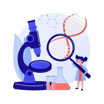 Classe universitaire des sciences. recherche en chimie en laboratoire. analyse liquide, test de biochimie, examen d'échantillons. affectation au collège. illustration de métaphore de concept isolé de vecteur.