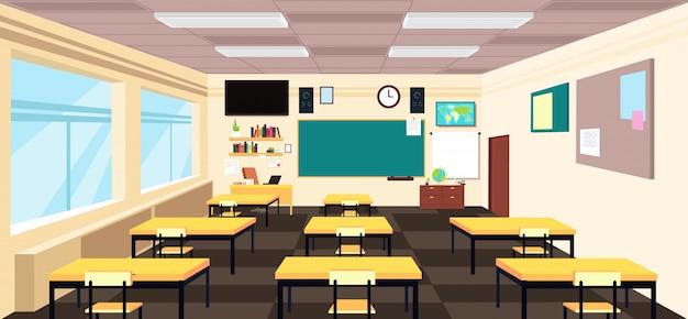 Classe vide de dessin animé, intérieur de salle de lycée avec bureaux et tableau noir. éducation