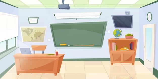 Classe vide de dessin animé avec tableau noir