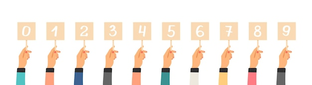 Classement des votes. mains tenant des tables avec des nombres. plaques d'immatriculation plates isolées, évaluation du concours du jury des produits ou des critiques