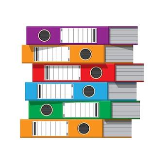 Classeurs, classeurs à anneaux, chemises de bureau colorées.