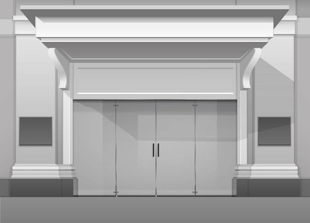 Classic shop boutique bâtiment magasin avant avec porte avant en verre fermé, colonnes, pare-soleil et place pour le nom isolé sur fond blanc