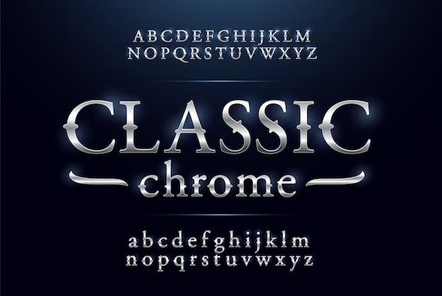Classique alphabet argent métallique et effets