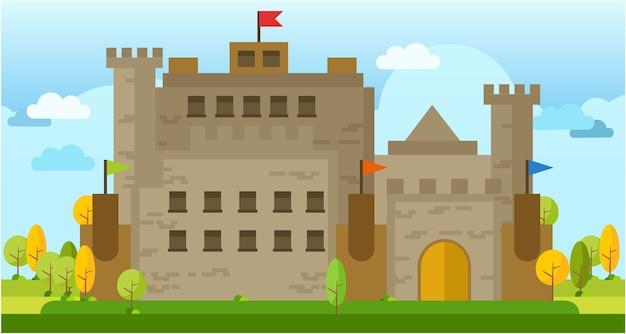 Classique vieux château vecteur plat