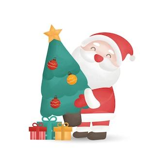 Clause de santa mignon et coffrets cadeaux dans un style aquarelle.