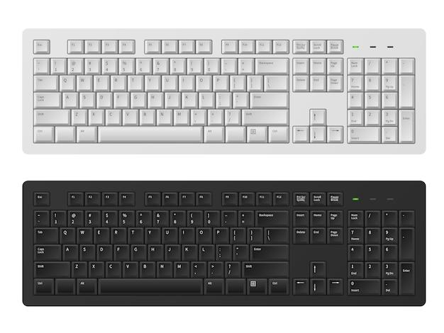 Clavier. clavier blanc et noir pour ordinateur personnel, clavier de pc moderne pour écrire des mots alphabet anglais, ensemble de modèles vectoriels réalistes de claviers