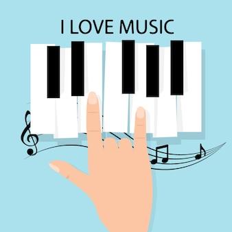 Clavier de piano de musique avec des notes. modèle de fond affiche