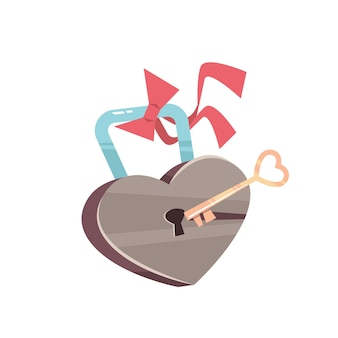 Clé et cadenas avec coeur saint valentin célébration concept carte de voeux bannière invitation affiche illustration