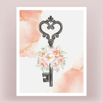 Clé isolé pivoines fleur pêche rose blanc aquarelle illustration
