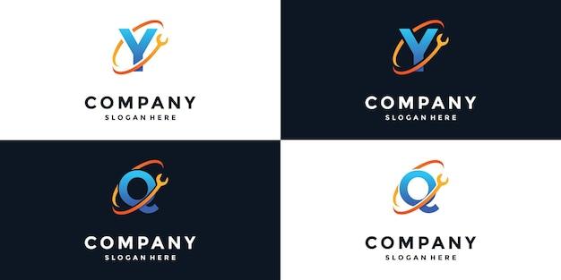 Clé à logo avec lettres y et q
