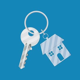 Clé en métal avec porte-clés maison