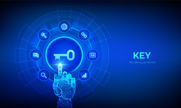 Clé. mot-clé. clé du succès ou concept technologique de solution sur écran virtuel. main robotique touchant l'interface numérique.